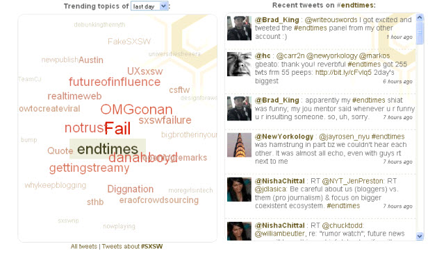 SXSW 2010 Day Two hashtags