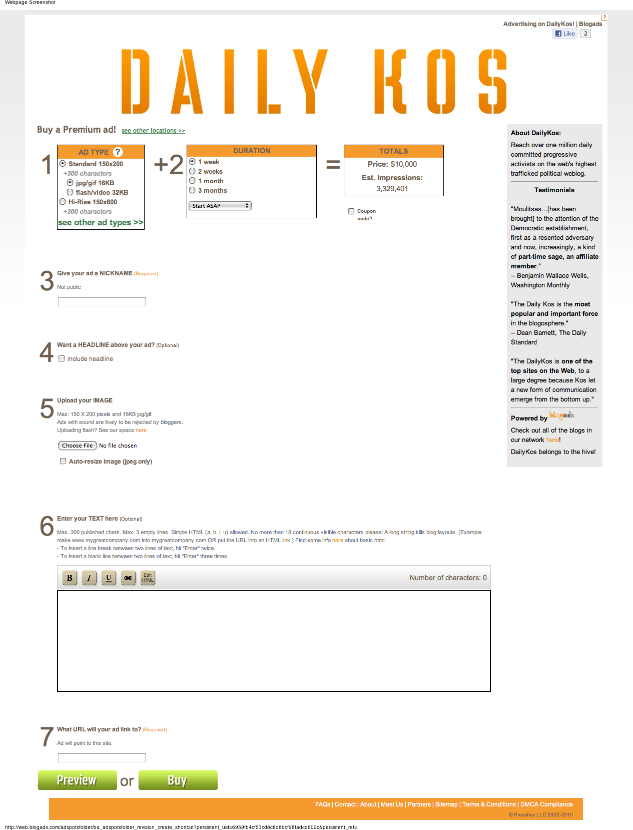 Advertise on DailyKos order form